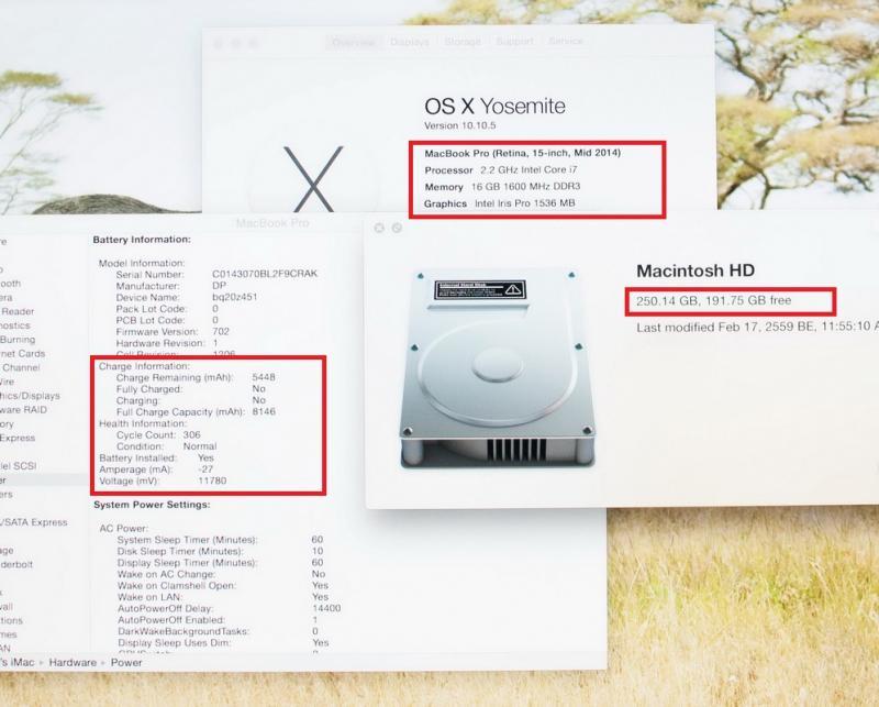 ขาย MacBook Pro Retina 15-inch Mid2014 Quad-Core i7 2.2GHz RAM 16GB SSD 256GB สภาพสวย ครบกล่อง ขายไม่แพง