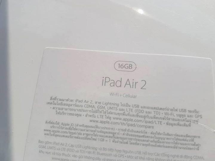 ขาย Ipad Air2 wifi+Cellular ใส่ซิม 16GB มือ1 ยังไม่แกะซีล