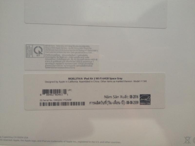 (ยังไม่แกะซีล)ขาย iPad air 2 wifi 64 GB space gray ประกันเต็ม ราคา16,500
