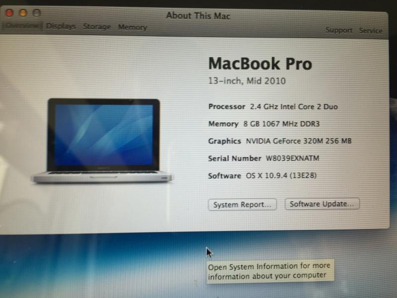 ขาย MacBook Pro 13-inch Mid2010  2.4GHz RAM 8GB SSD 120GB only 13,000 baht